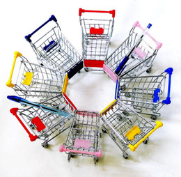 China artwares Cute Cart Mobile Phone Pen remote Control Holder Flower Case Supermarket office Handcart Shopping Cart 10 colors Christmas Gift suppliers