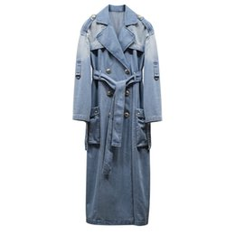 $enCountryForm.capitalKeyWord UK - Wholesale- HIGH QUALITY New Fall Winter 2017 Designer Trench Coat Women's Double Breasted Lion Buttons Denim Extra Long Trench Overcoat