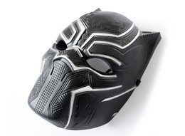mask stock NZ - 100pcs Solid 3D Black Panther Masks Movie Black Panther Cosplay Men's Plastic Party Full Mask Halloween Drop Shipping IN STOCK