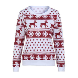 b52c6c714c2d 2017 Winter Women Sweater Christmas Red deer and maple lepattern Snowflake  Printed Long Sleeve Casual Crochet Pullover Mujer