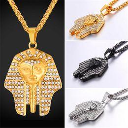 $enCountryForm.capitalKeyWord NZ - U7 Jewelry Pharao Pendant Necklace With Pharao Figure Austrian Rhinestone Stainless Steel Gold Black Gun Plated Chain Egypt Jewelry GP2707