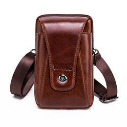 "Chinese  Real Genuine Leather Men Waist Shoulder Bags Purse Riding Hip Bum 4-6"" Cell Phone Case Hook Belt Fanny Small Cross Body Pack manufacturers"