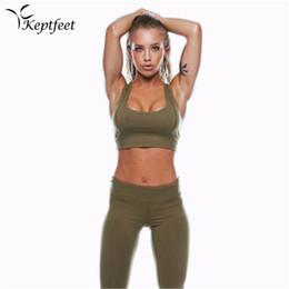 Discount sexy legs yoga pants - 2017 New Sexy 2Pcs Solid Color Women's Sport Wear Gym Yoga Vest Bra Sports Legging Pants Outfit Set Green Clothes