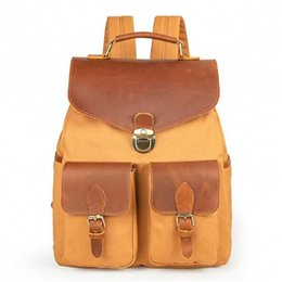 Vintage leather computer bag online shopping - Vintage Waterproof Canvas Genuine Leather Backpack Casual Daypack Outdoor Travel Rucksack Laptop Computer Satchel College School Bag