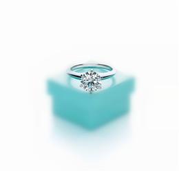 Vente en gros Version haute six griffes 1-3 carats diamant bague de luxe 925sterling argent couple anneaux femmes se marier mariage engagement amoureux cadeau avec boîte