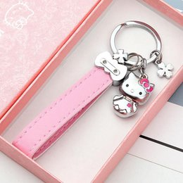 c76f3fc07 Anime Cartoon Figure Keychain Cute Cat Hello Kitty Key Holder With Leather  Strips Animal Pendant Charm Porte Clef Women KeyRing