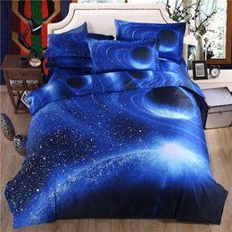 Conjuntos de ropa de cama en la habitación de los niños 3D Galaxy Tamaño de universo doble / reina Espacio exterior Cubiertas temáticas 3pcs / 4pcs Ropa de cama Ropa de cama Funda nórdica