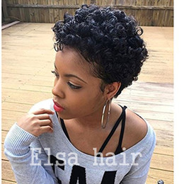celebrity hairs NZ - Celebrity Afro kinky curl Glueless Cap natural Indian Remy human hair regular affordable machine made Short wig for black women