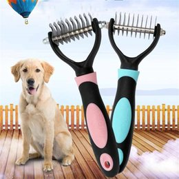 sport pet designs NZ - Stainless Steel Head Blade Cat Hair Removal Brush Grooming Practical Pet Rakes Luxury Design Dog Useful Combs 10 5cs Z