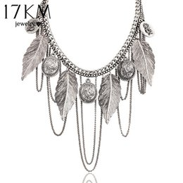 Chinese  whole sale17KM New Design hot Fashion Charm Vintage choker necklace Round coin Rose Leaf Tassel Chain necklaces statement for women manufacturers