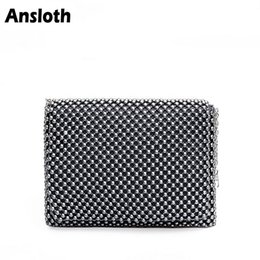 fashion women plastic bag Canada - Ansloth Fashion Plastic Beaded Bag For Women Small Clutches Bags Casual Chain Shoulder Bag Simple Female Messenger Bags HPS296