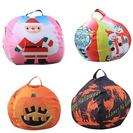 large stuffed animal toys wholesale NZ - Christmas Halloween 26 inches Storage Bean Bags Kids Bedroom Stuffed Animal Dolls Storage bag Plush Toys Large-capacity Spherical Tote C4938