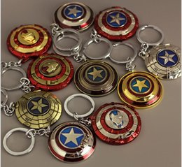 $enCountryForm.capitalKeyWord UK - The Avengers Captain America Keychain Superhero Star Shield Pendant Keyring Car Key Chain Accessories Batman Marvel Key Chains(rotatable )