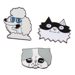 Chinese  Popular Cartoon Cute Funny Cat Dog Enamel Brooches Pins Small Size Lapel Pin For Women Mens Suit Shirt Backpack Hat Drop Shipping manufacturers