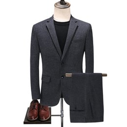 Chinese  2018 Fashion New Men's Casual Boutique Suit Men's Woolen Business Suit Latest Coat Pant Designs S-4XL Dark Gray Slim Male Suits manufacturers