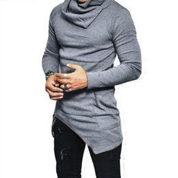 slim fit pullover hoodie men 2019 - Fashion Men Irregular Hoodies Casual Turtleneck Long Sleeve Pocket Sweatshirt Autumn Winter Slim Fit Pullover Tops Plus