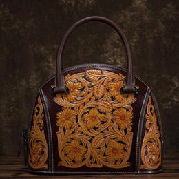 $enCountryForm.capitalKeyWord NZ - NIUBOA Designer Handbag High Quality Cow Genuine Leather Shoulder Bag Women Top-handle Vintage Printing Casual Shell Tote Bags