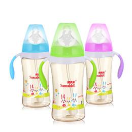 Wholesale 180ML BPA Free newborn infant wide mouth baby bottle durable PPSU baby feeding bottle nursing feeder bottles with straw handle