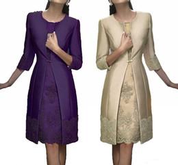 knee length wedding dress jacket 2019 - Elegant Mother Dresses with Jacket Long Sleeves Satin Lace Formal Party Suit Knee Length Wedding Guest Dresses Custom Ma