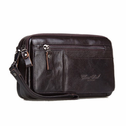 leather cell phone cases UK - Genuine Leather Men Business Clutch Bags Mobile Phone Case Cigarette Coin Purse Pouch First Layer Cowhide Male Handy Bag Wallet