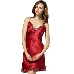 42abac2f9c7 100% Silk Nightgown Women Sleepdress Ladies Nightie Lace Nightdress  Chemises Slip Sleepwear Satin Nightwear