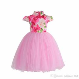 Cotton turtleneCks kids online shopping - IN stock NEW arrival Hot selling summer Girls Sleeveless flower printed dress baby kids Girl s cheongsam skirt