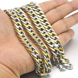 $enCountryForm.capitalKeyWord Canada - whole saleNIENDO 60cm Long 10mm Width Chain Necklace 316L Stainless Steel 2 Tone Gifts men jewellry cuban link chain male Man LN122