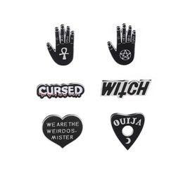 China Cartoon Dark Enamel Pins Star Moon OUIJA Heart Witchcraft Witch Hand Brooches Pins Punk Lapel Pin Buckle Badges Jewelry Gift suppliers