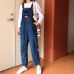 japanese overalls NZ - japanese jumpsuit kawaii women Denim Romper Overalls Pocket Loose Femme Jeans blue Overalls pattern Long Trousers college