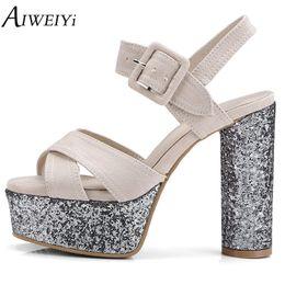 $enCountryForm.capitalKeyWord Australia - wholesale Women Sandals Glitter Summer Shoes Woman Thick High Heel Platform Pumps Ladies Dress Party Pumps Casual Shoes Woman