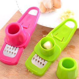 $enCountryForm.capitalKeyWord Australia - Candy Color Garlic Press Multi-functional Grinding Garlic Mini Ginger Grinding Grater Planer Slicer Cutter useful in kitchen 100pc wn391