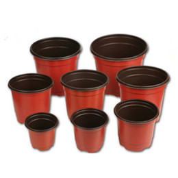 Flower supply online shopping - Double Color Flower Pots Plastic Red Black Nursery Transplant Basin Unbreakable Flowerpot Home Planters Garden Supplies hy7 bb
