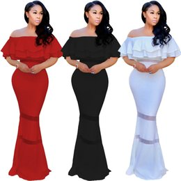 Long White Mermaid Maxi Dress NZ - Red Black White Ruffles New Fashion Dress Design 2018 Bandage Dress Short Sleeve Maxi Lace Dresses Summer Long Sexy Clothing Slash Neck