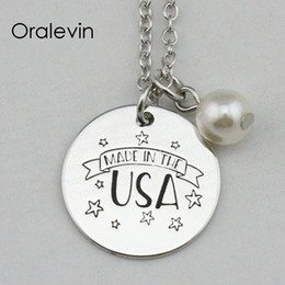 made usa charm 2021 - MADE IN THE USA Inspirational Hand Stamped Engraved Custom Charm Pendant Chain Necklace Metal Stamped Jewelry,18Inch,22M