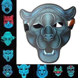 Wholesale Scary LED Music Mask Voice Control EL Mask Cold Light Halloween Xmas Cosplay Light Up Festival Dance Parties Costume