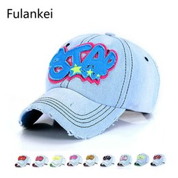 wholesale letter hat patches 2019 - Fulankei Spring New Pattern Cowboy Baseball Hat Male Ma'am Personality Holes Vintga Sun Hat Patch STAR Hats cheap wholes