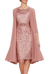 China Charming Two Pieces Sheath Lace Mother Formal Wear With Jacket Mother of groom Wedding Guest Dress Evening Mother Of Bride Dress Gowns cheap mothers jackets formal suppliers