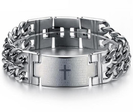17 gold UK - 17-21cm Spain Bible Verse Lord's Prayer Cross Titanium Steel Bracelets for Men Black Gold White Steel Classic Jewelry Wholesale