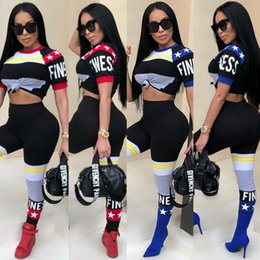 Discount yellow leopard girl clothing - 2018 summer Letter star printed tracksuit crop top sets short sleeve T-shirt tee long pants Leisure suit hip-hop street