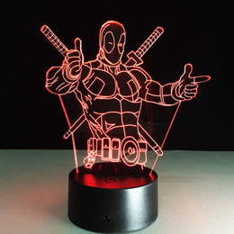 LED Night Lights Marvel Anti Hero Deadpool Color Changing Light 3D Illusion  Decor Lamp Creative 3D Illusion Lamp
