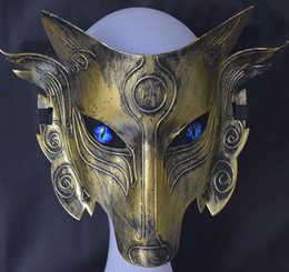 Wholesale Samurai Wolf Head Cosplay Mask Halloween Party Prom Masquerade Man Birthday Bachelor Steampunk Masks Fancy Dress accessories