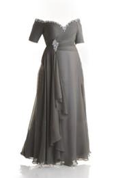 Custom Made Plus Size Robes de soirée paillettes de perles Off-épaule ruché en mousseline de soie gris robe de bal mère des robes de mariée cheville