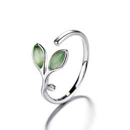$enCountryForm.capitalKeyWord UK - Simple Leaf Ring Female Opening Fresh Fashion Cat-eye Tender Green Ring Student Girlfriends Sisters Creative Jewelry Rings