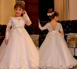 dress for comunion UK - 2019 first communion dresses for girls White flower girl dresses Appliques prom dresses girls ball gown vestidos comunion