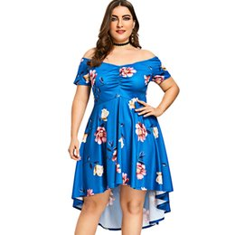 35922220e69 Plus Size Off Shoulder Floral Midi Dress 2018 Summer Elegant Party Women  Dresses Raglan Sleeve Asymmetrical 5XL