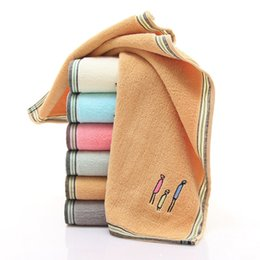 EmbroidEry facE towEls online shopping - 2018 Couples Infant Child towel Cute Embroidery Thicken Soft wash Horizontal Weave Adult new Cotton towel