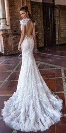 Sheer bodice feather wedding dreSS online shopping - 2018 Berta Fall Mermaid Wedding Dresses V Neck Backless Lace wedding dress With Feathers Sweep Train Beach plus size wedding dresses