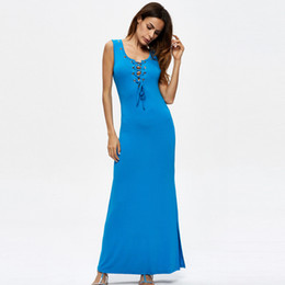be4d874b12ba 2018 long Summer dress women Sleeveless O neck casual dress plus size  ankle-length blue lace up bluef party maxi hot sale