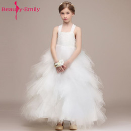 204779443e6c wholesale White Flower Girl Dresses 2018 Appliques Wedding Party Prom for  Kids Ball Gown