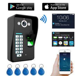 Camera pC video wireless online shopping - HD P video door phone Wireless WIFI RFID Password Fingerprint video doorbell Intercom IP Camera support iOS Android Phone PC